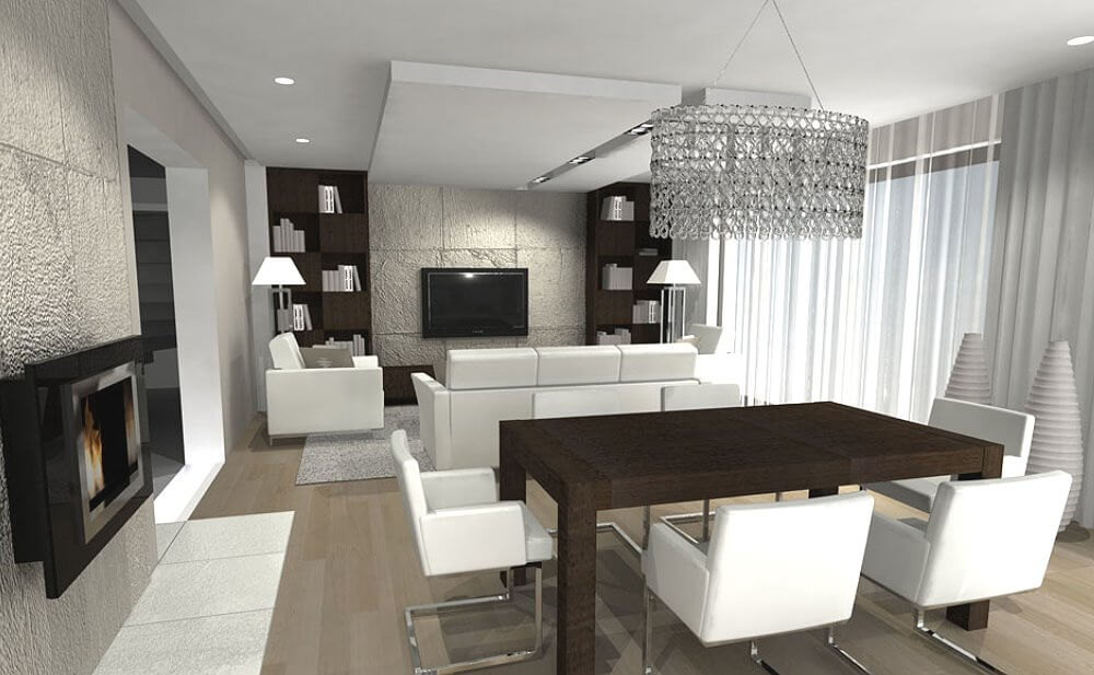 Дизайн интерьера гостиной совмещённой с кухней