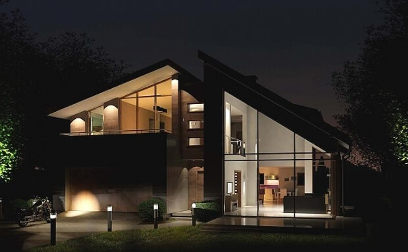 Вид на дом ночью